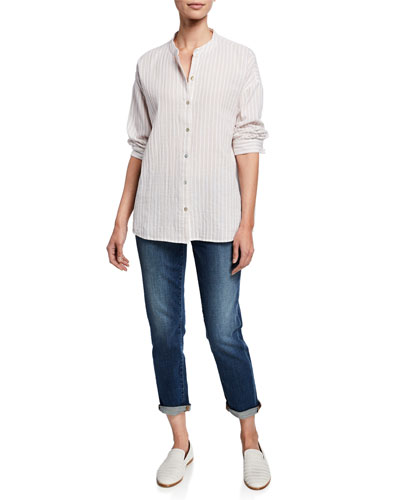 Striped Button-Front 3/4-Sleeve Cotton Gauze Shirt and Matching Items