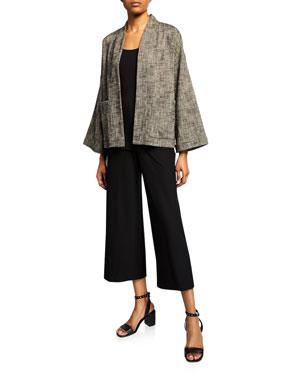 f4158b85fd9 Eileen Fisher Tweedy Bracelet-Sleeve Kimono Jacket Silk Jersey Long Slim  Camisole High-Waist