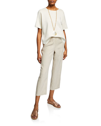 Elbow-Sleeve Silk Cotton-Interlock Sweater and Matching Items