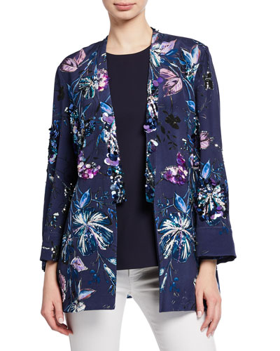 Austen Embellished Floral-Print Open-Front Jacket and Matching Items