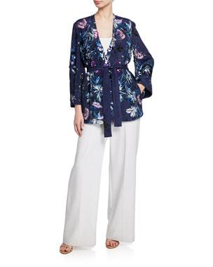 fef8ccbae3 Kobi Halperin Austen Embellished Floral-Print Open-Front Jacket Julie  Strapless Wide-Leg
