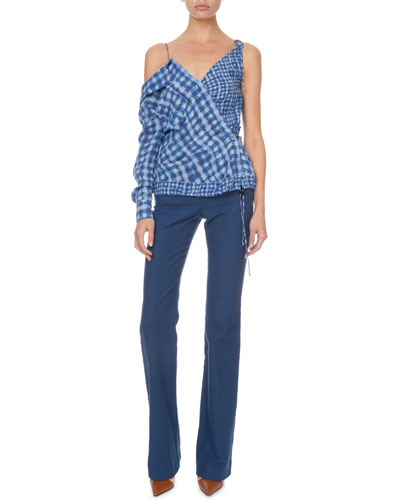 Nola One-Sleeve Gingham Blouse and Matching Items