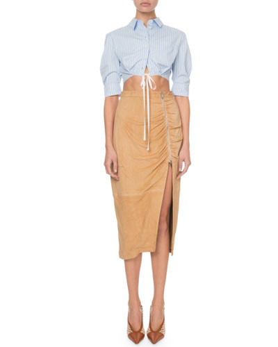 Benvenuto Zip-Front Ruched Waist Suede Skirt and Matching Items