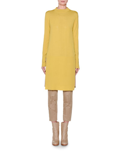 Long-Sleeve Banded High-Low Tunic  Yellow and Matching Items