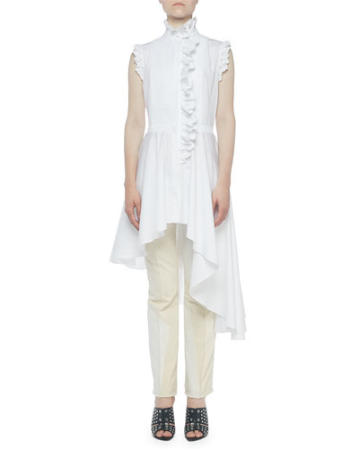 High-Neck Lace-Trim Button-Front Asymmetric Blouse and Matching Items