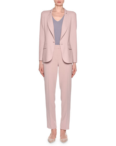 Wool Crepe One-Button Blazer  Pink and Matching Items