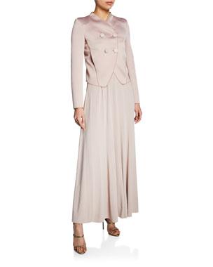 5052edd083 Giorgio Armani Bonded Satin Jersey Blazer Square-Neck Matte Jersey Maxi  Dress
