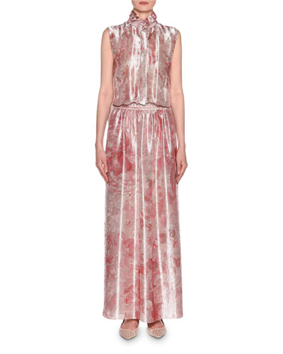 Mock Neck Printed Gown and Matching Items