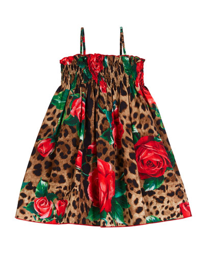 Smocked Leopard & Roses Spaghetti-Strap Dress