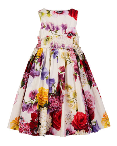 Sleeveless Smocked Floral Dress