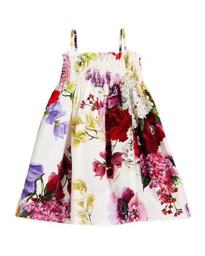 Smocked Floral Spaghetti-Strap Dress