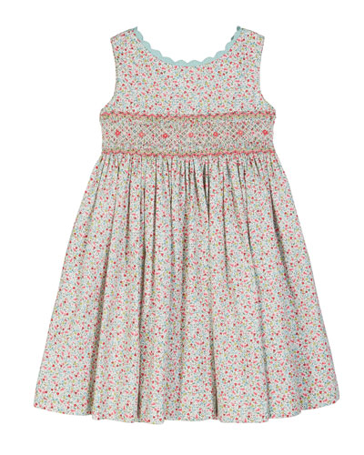 Floral Scalloped-Trim Smocked Dress  Size 2-4T  and Matching Items