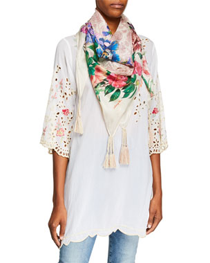 dd15e017821f Johnny Was Belina Floral-Embroidered Georgette Tunic w  Eyelet Detail