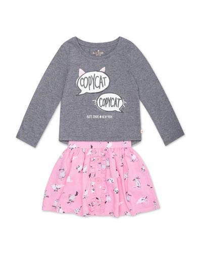 copycat long-sleeve top w/ cat-print skirt
