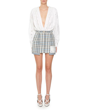 Off-White 80s Sangallo Eyelet-Embroidered Deep V-Neck Shirt Checkered  Exposed- 6331f1077