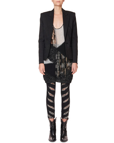 Tux Lapel Zebra-Jacquard Blazer  and Matching Items