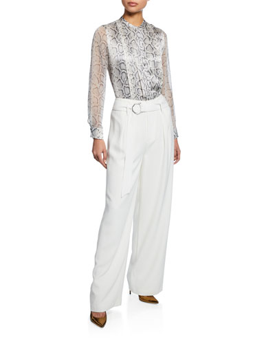Terri Snake-Print Button-Down Silk Blouse  and Matching Items