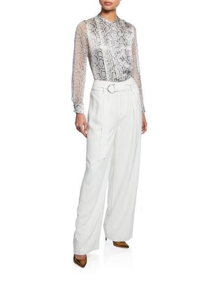 Terri Snake-Print Button-Down Silk Blouse