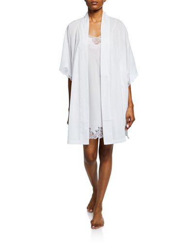 Lace-Trim Short Cotton Robe and Matching Items