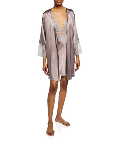 Sleek Lace-Trim Silk Robe and Matching Items