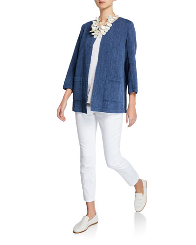 Indigo Open-Front Long-Sleeve Organic Cotton Jacket and Matching Items