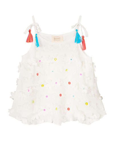 Woven 3D Flower Top w/ Tassel Straps  Size 4-6  and Matching Items