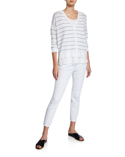 Striped V-Neck Button-Front Boxy Cardigan and Matching Items