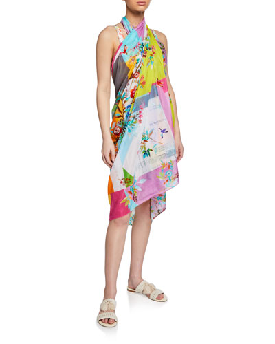 Camellia Patchwork Silk Sarong and Matching Items