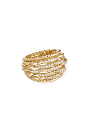 David Yurman Tides 18k Gold Woven Diamond Ring, Size 7 Tides 18k Gold Woven Diamond Ring, Size 8 Tides 18k Gold Woven Diamond Ring, Size 6
