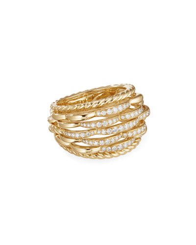 Tides 18k Gold Woven Diamond Ring  Size 7 and Matching Items