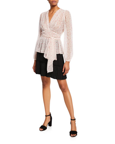 lips v-neck tie-waist long-sleeve silk top and Matching Items