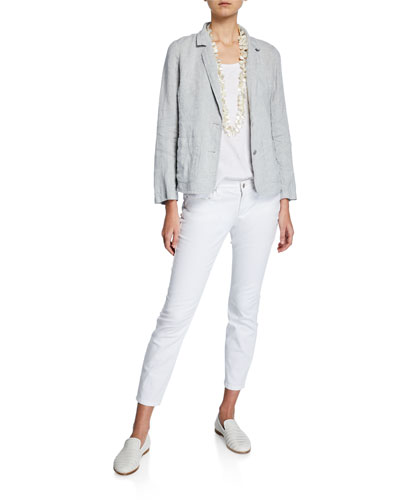 Plus Size Shaped Two-Button Metallic Linen Blazer and Matching Items