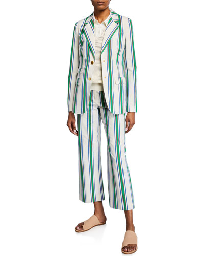 Striped Two-Button Cotton Blazer and Matching Items