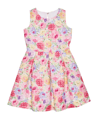 Floral Basket Weave Sleeveless Dress  Size 4-6 and Matching Items