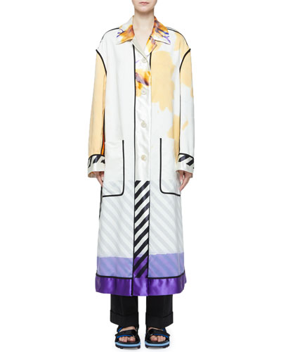 Multi Hand-Painted Button-Front Oversized Coat and Matching Items