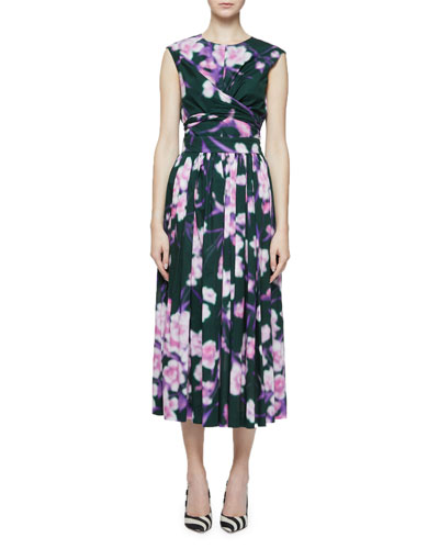 Abstract Floral-Print Pleated Midi Skirt and Matching Items