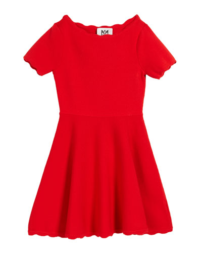 Scalloped Knit Short-Sleeve Flare Dress  Size 4-6 and Matching Items