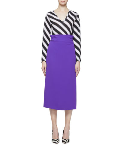 High-Waist Ruched-Back Midi Skirt and Matching Items