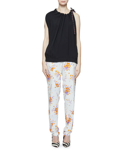 Small Flower-Print Clean Straight-Leg Longer Length Trousers and Matching Items