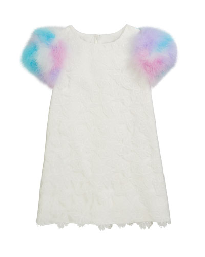 Butterfly Lace Dress w/ Dyed Feather Sleeves  Size 4-8  and Matching Items