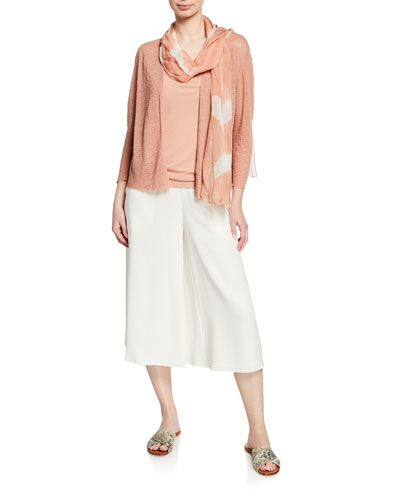 Plus Size Open-Front Blouson-Sleeve Linen-Crepe Cardigan and Matching Items