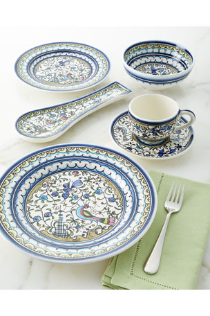 Neiman Marcus Pavoes Blue and Green Dinner Plates, Set of 4 Pavoes Blue and Green Salad Plates, Set of 4