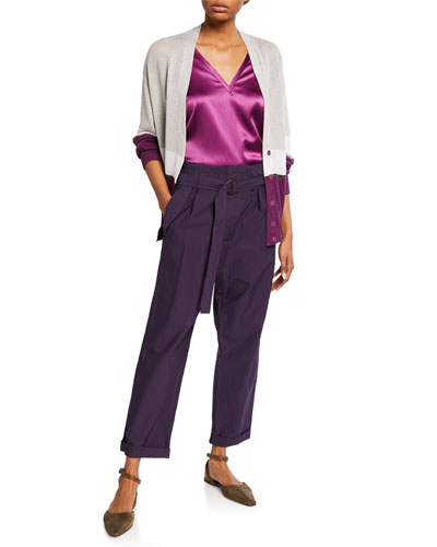 Colorblocked Linen-Silk Cardigan and Matching Items