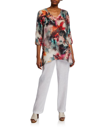 Plus Size Sunset Watercolor V-Neck 3/4-Sleeve Side-Fall Linen Tunic and Matching Items