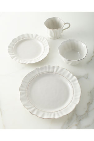 Juliska Madeleine Whitewash Coffee/Tea Cup Madeleine Whitewash Dessert/Salad Plate Madeleine Whitewash Dinner Plate