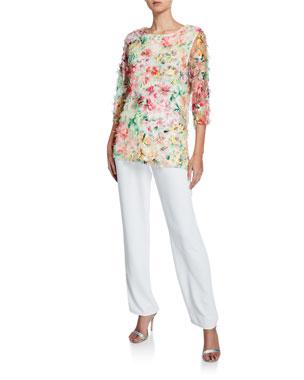 e526d0b393ce1 Caroline Rose Plus Size Sunshine State Mulitcolor Embroidered Tunic Plus  Size Suzette Crepe Straight-Leg