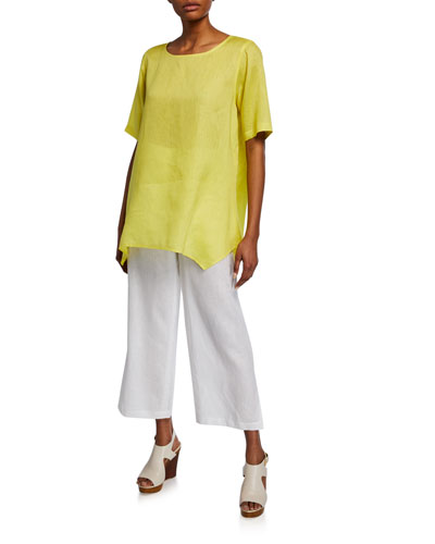 Plus Size Short-Sleeve Tissue-Linen Swing Tee and Matching Items