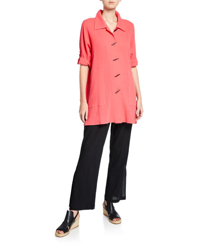 Plus Size Crinkle Cotton Button-Front Long Shirt and Matching Items