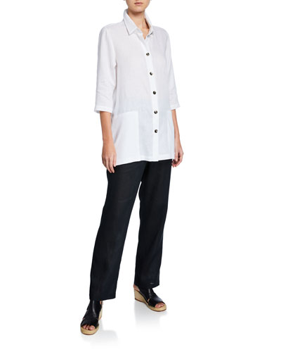 Plus Size Button-Front Tissue Linen Shirt with Pockets and Matching Items