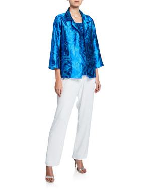 b9db8c87924 Caroline Rose Plus Size Blue Hawaii Floral Jacquard Jacket Plus Size Blue  Hawaii Jacquard Tank Plus
